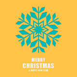 Christmas and New Year greeting card. Template snowflakes  Royalty Free Stock Images
