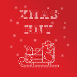 Christmas and New Year greeting card templates. Batch of gifts box on the sledge. Red version Royalty Free Stock Images