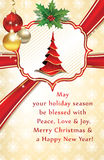 Christmas and New Year greeting card. With Christmas tree, Christmas baubles, holly berries, jingle bells. Print colors used. Custom size of a greeting card vector illustration