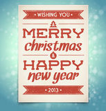 Christmas and New Year greeting card with typograp Stock Photos