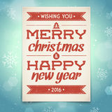 Christmas and New Year greeting card. With typography Royalty Free Illustration
