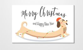 Christmas and New Year greeting card vector illustration