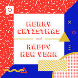 Christmas and New Year greeting card. Vector graphics, memphis style illustration eps 10 Royalty Free Stock Image