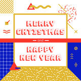 Christmas and New Year greeting card. Vector graphics, memphis style illustration eps 10 Royalty Free Stock Images