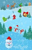 Christmas or New Year greeting card. 2016 Christmas or New Year greeting card. Winter holiday background. Snow and snowflakes on background. Vector illustration royalty free illustration