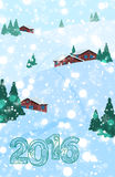 Christmas or New Year greeting card. 2016 Christmas or New Year greeting card. Winter holiday background. Snow and snowflakes on background. Vector illustration Royalty Free Stock Photography