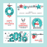 Christmas and New Year greeting cards and banners. Set of flat line design vector illustrations Stock Images