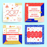 Christmas and New Year greeting cards. Multicolored geometric figures background in modern hipster style Royalty Free Stock Photography