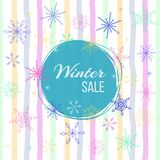 Vector illustration with snowflakes and text `winter sale` on striped background. stock photos