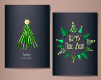 Christmas and New Year greeting cards set, illustration, dark blue background. Fir trees in circle symbolize the planet Earth vector illustration