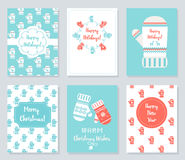 Christmas and New Year Greeting Cards Set. Knitted Mittens Theme Vector Illustration Royalty Free Stock Image