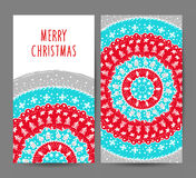 Christmas and New Year greeting cards vector set Stock Images