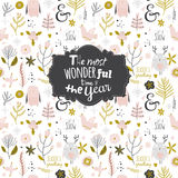 Christmas and New Year greeting pattern. Vintage Merry Christmas And Happy New Year Calligraphic And Typographic pattern. Greeting illustration of winter Royalty Free Stock Photos