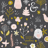Christmas and New Year greeting pattern. Royalty Free Stock Images