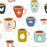Christmas and New Year greeting pattern. Vintage Merry Christmas And Happy New Year seamless pattern. Greeting stylish illustration with colorful cups with cute Stock Illustration