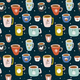 Christmas and New Year greeting pattern. Vintage Merry Christmas And Happy New Year seamless pattern. Greeting stylish illustration with colorful cups with cute Royalty Free Stock Photo