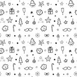Christmas and New Year greeting pattern. Royalty Free Stock Image