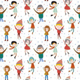 Christmas and New Year greeting pattern. Vintage Christmas and New Year greeting pattern. Vector illustration of cheerful smiling jumping girls and boys. Good Stock Photo