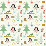 Christmas and New Year greeting pattern. Stock Images