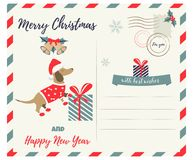 Holiday greeting postcard with holiday dachshund Stock Photography