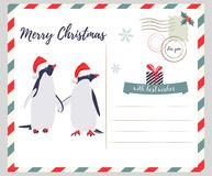 Christmas, New Year greeting card with penguins Stock Image