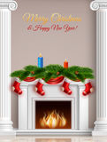 Christmas And New Year Greeting Poster. With fireplace fir branches candles ribbons and socks vector illustration Royalty Free Stock Image