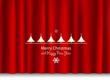 Christmas and new year greeting on a red shiny curtain Stock Photography
