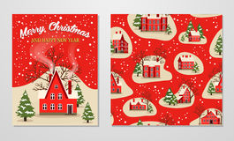 Christmas and New Year greeting set. Marry Christmas and Happy New Year greeting set vector illustration. Xmas card with red brick christmas house, snow covered Royalty Free Stock Photos