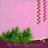 Christmas and New Year Greeting with sparkles, fir twigs. Christmas and New Year Greeting with ribbons, fir twigs, sparkles, snowflakes and pearls Stock Photos