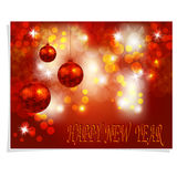 Christmas, New Year greeting. Three shiny red Christmas balls on a beautiful background. Inscription Happy new year. Christmas tree toy. vector illustration Royalty Free Stock Photo
