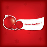 Christmas , New Year greeting traditional red card. With balls Royalty Free Stock Images
