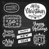 Christmas and New Year Greetings and Badges Royalty Free Stock Photo