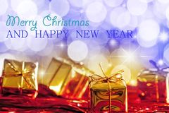 Christmas and New Year Greetings Card. With Christmas Present Royalty Free Stock Image