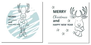 Christmas and New Year greetings cards with deer royalty free illustration