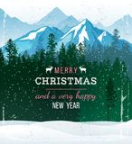 Winter landscape with Christmas and new year greetings. Christmas and new year greetings over winter landscape with forest and mountains Stock Image