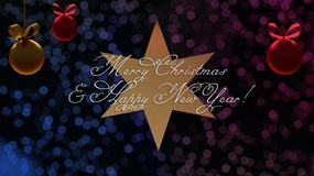 Christmas and New Year greetings on the star with the blue and purple bokeh on background stock illustration