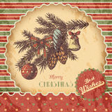 Christmas or New year hand drawn colored vector illustration - card, poster. Fir branch with ornaments, vintage sketch. Style. Red and green classic paper Royalty Free Stock Photos