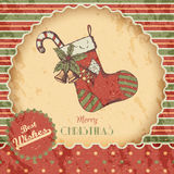 Christmas or New year hand drawn colored vector illustration - card, poster. Xmas sock with candy, bells, vintage sketch Royalty Free Stock Photo