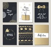 Christmas and New Year hand drawn greeting cards set. Vector illustrations for greeting cards, website and mobile banners, marketi. Ng material Stock Photography