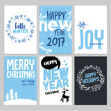 Christmas and New Year hand drawn greeting cards set Stock Photos