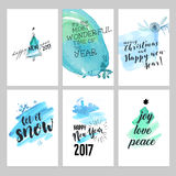 Christmas and New Year hand drawn greeting cards set Royalty Free Stock Images