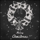 Christmas and New year hand drawn vector illustration. Decorative wreath sketch, vintage style. Grunge blackboard. Background with snow Royalty Free Stock Photos