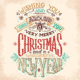 Christmas and New Year hand lettering. Christmas and New Year holiday hand lettering wishes Royalty Free Stock Images