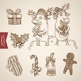 Christmas New Year handdrawn elk reindeer candy cane vector. Funny elk reindeer candy cane gingerbread man. Christmas New Year handdrawn engraving style template Royalty Free Stock Photo