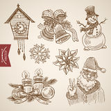 Christmas New Year handdrawn santa funny snowman retro vector Royalty Free Stock Images