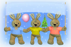 CHRISTMAS. NEW YEAR. HARES Stock Photos