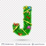 Holiday decorative letter of fir tree with toys. Christmas and New Year holiday alphabet symbol. Vector font element stock illustration