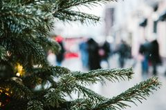 Christmas and New Year holiday background, blur people walking in the street stock images