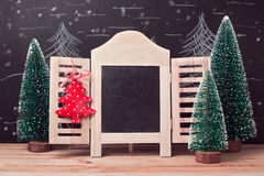 Christmas and New Year holiday background with chalkboard frame mock up Stock Images