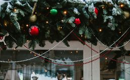 Christmas and New Year holiday background. Decorations. Christmas decorations on the streets stock image